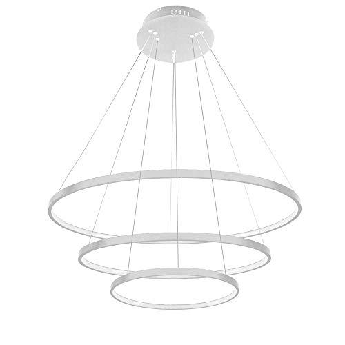 AXFALO Lámpara de techo LED de 76 W, 3 anillos, moderna, lámpara de comedor, creativa, con anillos redondos, ajustable, altura regulable, lámpara de techo, luz blanca, 6500 K, 20 + 40 + 60 cm