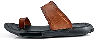 Classic Men Sandals Comfortable Men Summer Sandals Shoes Genuine Leather Sandals Men Roman Comfortable Shoes (Color : Brown, Shoe Size : 6.5)