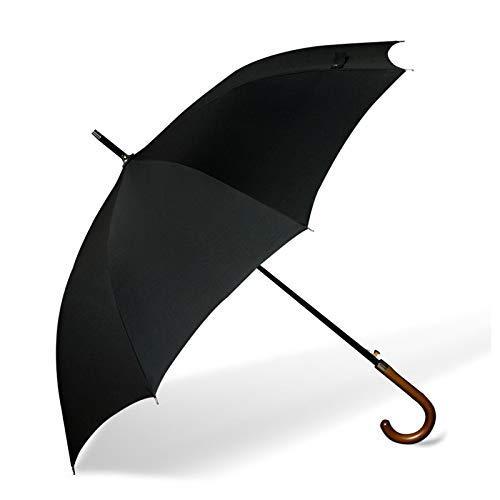 Paraguas de la Familia Fortalecer el Viento y el Paraguas de Lluvia Madera a Prueba de Viento Paraguas de Mango Largo Gran Paraguas Negocio de Agua de Lluvia automático Negro Black