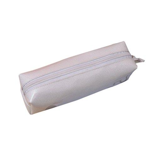 WeiMay Rectangulaire Étudiant Sac cosmétique Sac de rangement PU Grande capacité Pencil Sac size 20*6*6CM (Blanc)