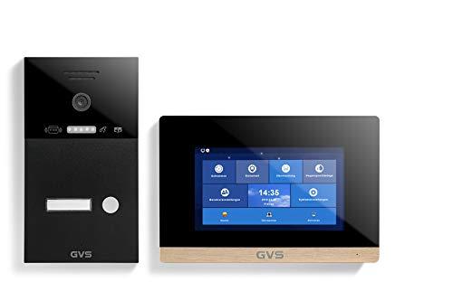 GVS IP Video Türsprechanlage, Unterputz-Türstation IP65 mit RFID, 1x 7 Zoll Monitor, App, HD-Kamera 150°, Türöffner-Fkt, 32GB Speicher, PoE-Switch, 1 Familienhaus Set, AVS4245U