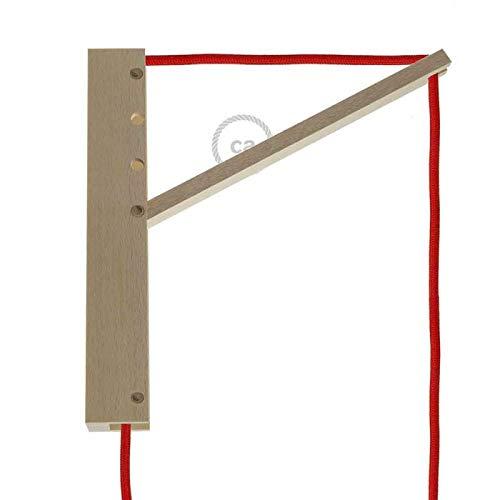creative cables Pinocchio, Supporto a Muro Regolabile in Legno per lampade a Sospensione.