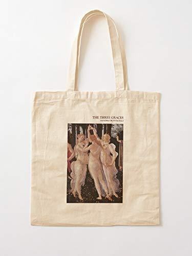 Graces Myth Mythologia Renaissance Botticelli Sandro Grace Three Paiting Tote Cotton Very Bag | Bolsas de supermercado de lona Bolsas de mano con asas Bolsas de algodón duraderas