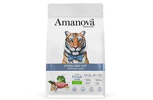 Amanova Cibo Secco Super Premium per Gatti sterilizzati Gusto Agnello - 100% Naturale, ipoallergenico e monoproteico - Cruelty Free - Formato da 6 kg