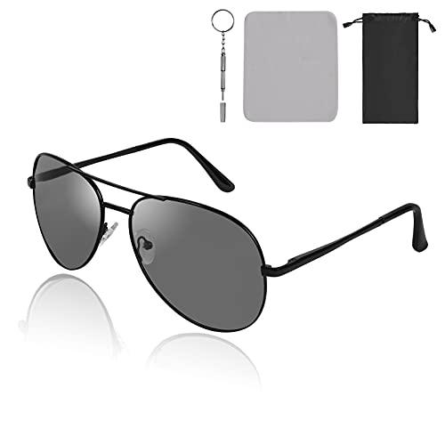 URAQT Gafas de Sol Deportivas Polarizadas, UV400 Protección Polarized Sunglasses, Super Ligero Marco Metal Gafas de Sol Polarizadas, Gafas de Sol para Hombre y Mujer para Conducir Ciclismo Pesca