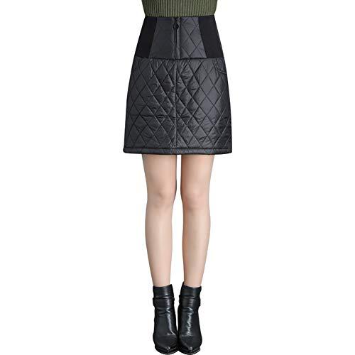Zulux Giù Gonne Donna Inverno Caldo Signore Spesso Vita Alta Dell'anatra Giù Epoca A-Line Mini Gonne Femminile Big Plus Size,XL
