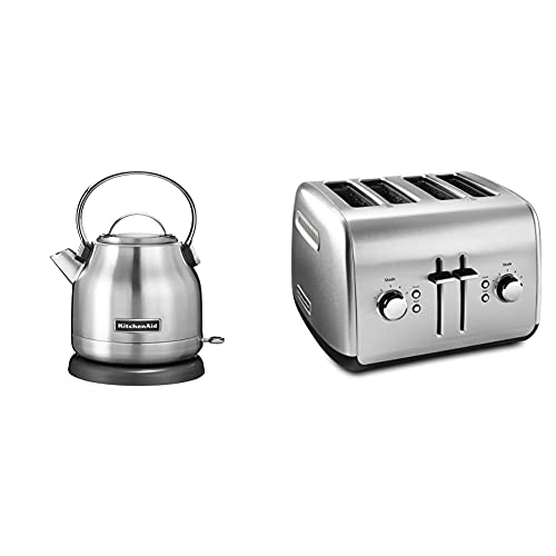 KitchenAid KEK1222SX 1.25-Liter Electric Kettle - Brushed Stainless Steel,Small & KMT4115SX Stainless Steel Toaster, Brushed Stainless Steel