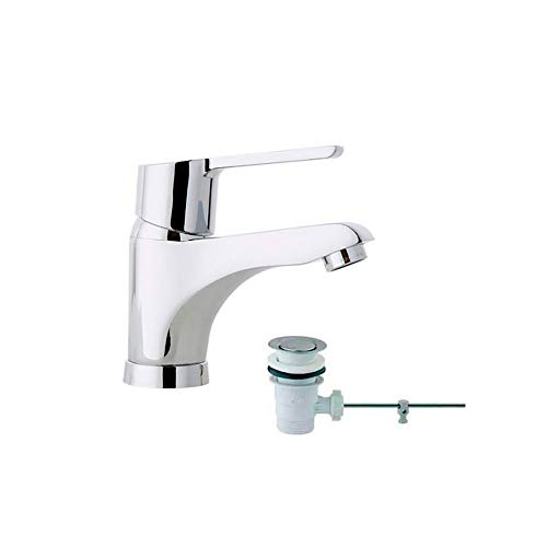 Ramon Soler 46A305020 Atalanta – Monomando de lavabo con válvula automática ABS, sistema S2 de ahorro de agua del 50%, limitador de temperatura y cromado Diamond Finish, cromo