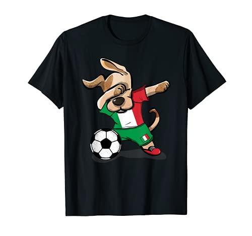 Perro Dabbing Italia Fútbol Bandera italiana Fútbol Camiseta