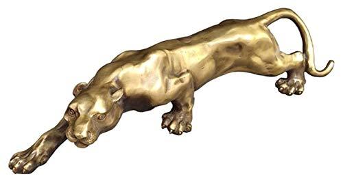 WQQLQX Statue Leopard Statue Dekoration, große Katze Statue Jaguar Skulptur Bronze Skulptur Kunst Home Schreibtisch Dekoration Zubehör Tierfiguren Skulpturen