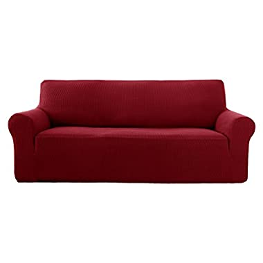 Deconovo Sofa Cover Fitted Spandex Sofa Furniture Protector Jacquard Stretch Anti-wrinkle Slip Resistant Solid Print Sofa Cover Wine Red
