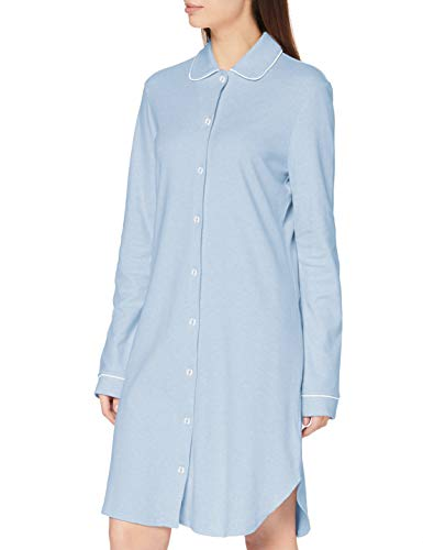 Seidensticker Damen Women Sleepshirt, Long Sleeve Nachthemd, hellblau-Mel, 044