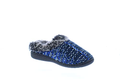 Gold Toe Norma Fur Clog Slipper House Shoes,Memory Foam Slippers for Women Indoor Outdoor Navy M 8