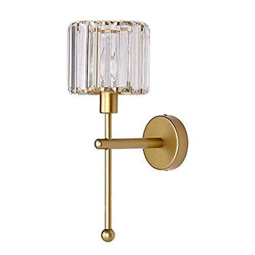 MZStech E14 Lampade da parete in stile minimalista moderno Illuminazione, Applique da parete in cristallo trasparente, Applique da parete per corridoio, Applique da comodino per camera da letto (Oro)