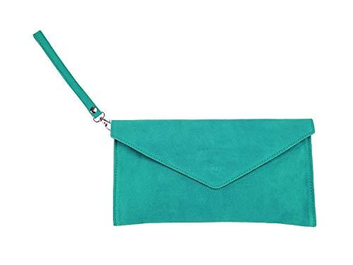 scarlet bag | Umhängetasche aus Wildleder Leder | Damen Handtasche Tasche Henkeltasche; 31,5 x 16,5 x 1,0 cm (türkis)