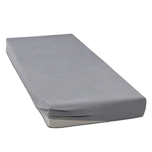 maxVitalis Spannbettlaken für Gästematratze, Bettlaken für Klappmatratzen, Spannbetttuch für Faltmatratze, Waschbar bei 40°C, Grau, 100% Polyester