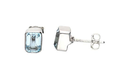 Blau-Topas Schmuck (Ohrringe) Blau-Topas Ohrstecker facettiert Größe ca. 6 mm x 8 mm 925er Sterling-Silber Modellnummer 4354