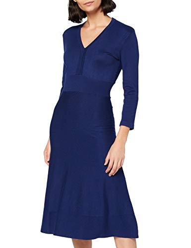 Noa Noa Damen Essential Viscose Knit Dress Long Sleeve,Below Knee Lässiges Kleid, Blueprint, XS