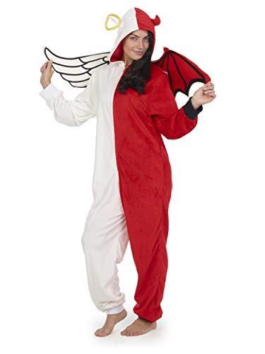 Pijama Entero Mujer con Unicornios Koala Perro Gato Koala Dinosaurio Pijamas de Animales Onesie Todo en Uno (M, Ángel y Demonio)