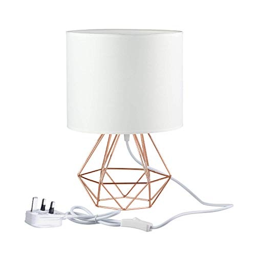 Modern Desk Lamp 18cm Vintage Industrial Mini Bedside Table Lamp Diamond Cage Shade Lighting for Living Room Bedroom Coffee Office E27 Bulb