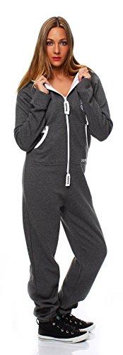 Hoppe Damen Jumpsuit Jogger Einteiler Jogging Anzug Trainingsanzug Overall (Grau) - 2