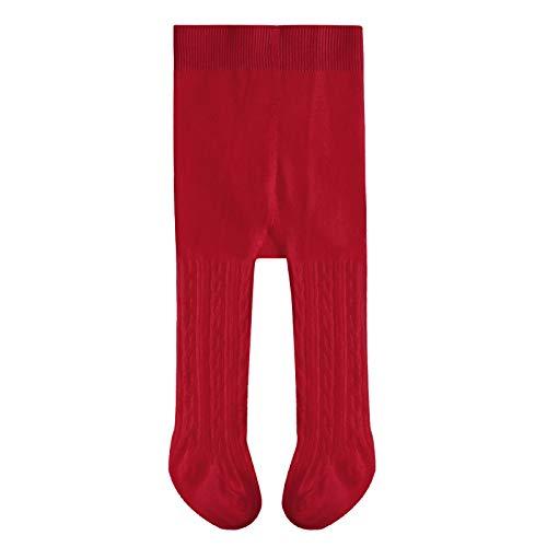 Algodón Bebé Niñas Estrecho Cable Punto Niños Pantyhose Sólido Casual Bebé Legging Pantalones, rojo vino, 1-2 Años
