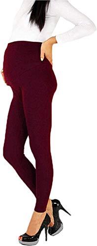 Leggings Premaman per Donna in Gravidanza Pantaloni Lunghi Elasticizzati a Vita Alta Leggings di maternità Casual (Vino Rosso, L)