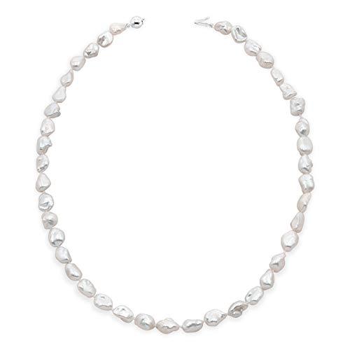 Secret & You Collana di Perle d'Acqua Dolce coltivate Keshi Baroque Lunga 45 cm Perle Keshi barocche Perle da 7-9 a 9-10 mm con Singolo Annodato