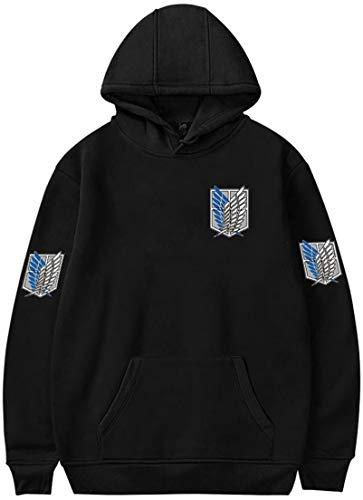 MINIDORA Boys Hoodie Attack on Titan Pullover for Kids Shingeki no Kyojin Printed Sweatshirt for Japanese Anime Fans SBlack 907 C