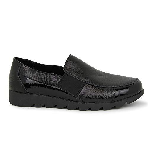 Zapato cómodo Charol-Animal Print Negro