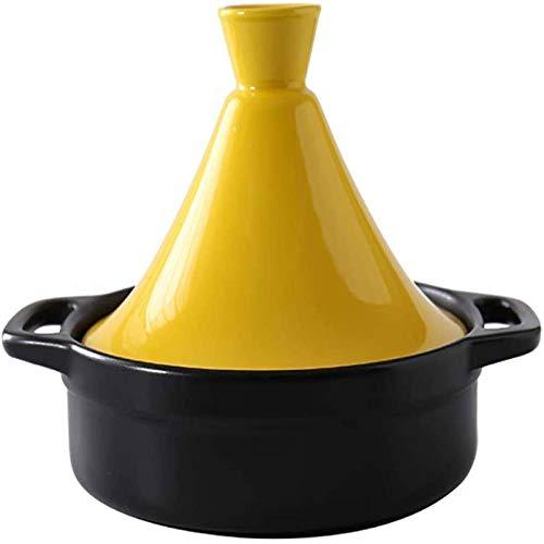 IUYJVR Cazuela Cazuela de inducción, Olla de Terracota para vapores en teteras de cerámica Olla de Terracota para guisar Durante la cocción Lenta Olla de tagine marroquí con Tapa Amarilla Cazuela d