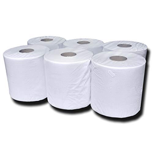 6 Handtuchrollen Innenabwicklung, Handtuch-Papierrollen natur-weiß, 20 cm, 2-lagig