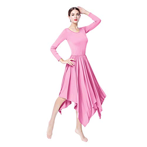 hellomiko Mujer Alabanza Vestido de Baile Manga Larga Plisado Columpio Irregular Bailando Midi Vestido Tango Bailarn Disfraz Ropa de Baile