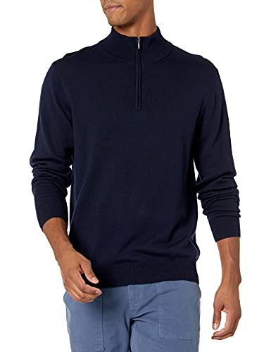 Marchio Amazon - Goodthreads, maglione da uomo, in lana merino, con cerniera 1/4, Blu (navy), US L (EU L)