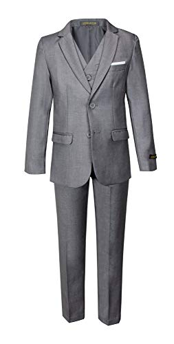 Avery Hill Boys Formal 5 Piece Suit Shirt Vest, Slate Gray, Medium / 6-12 Months