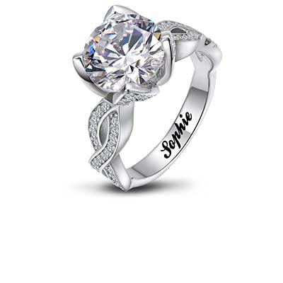 Moissanite - Anillo de moissanite de diamante de 1,5 quilates, anillo de compromiso personalizado, para mujeres y hombres