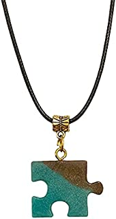 AGA Two-Tone Puzzle Shaped Handmade Resin Pendant Necklace - Teal and Brown