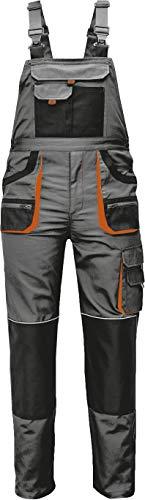 Stenso Des-Emerton® - Pantalones con Peto de Trabajo para Hombre - Gris/Negro/Naranja - 52