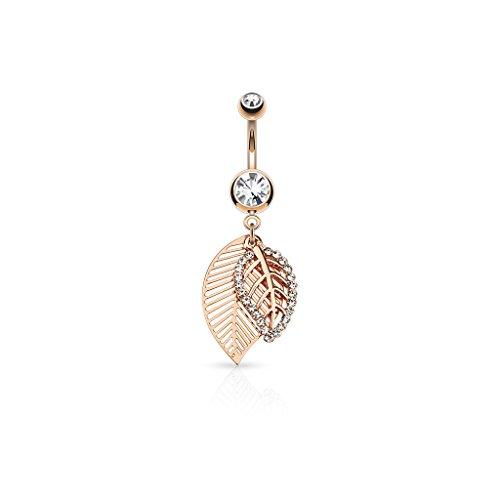Paula & Fritz®, piercing per ombelico in acciaio chirurgico 316L, con doppia foglia, con zirconi e acciaio inossidabile, colore: oro rosa, cod. N13244-RDC