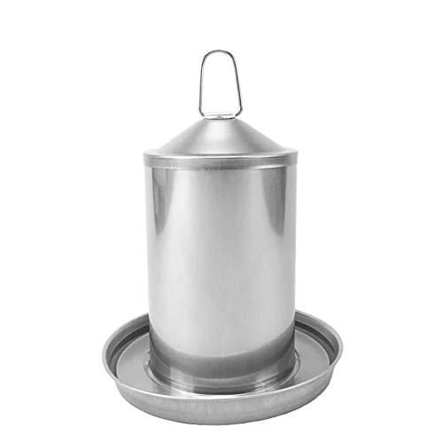 Sterico Hühnertränke   304er Edelstahl   Rostfrei   BPA-frei   Frei von gefährlichen Kanten   Überlaufsicher   Aufhängbar und Aufstellbar   Geflügeltränke   Wassertrog   Wasserspender für Hühner 3L