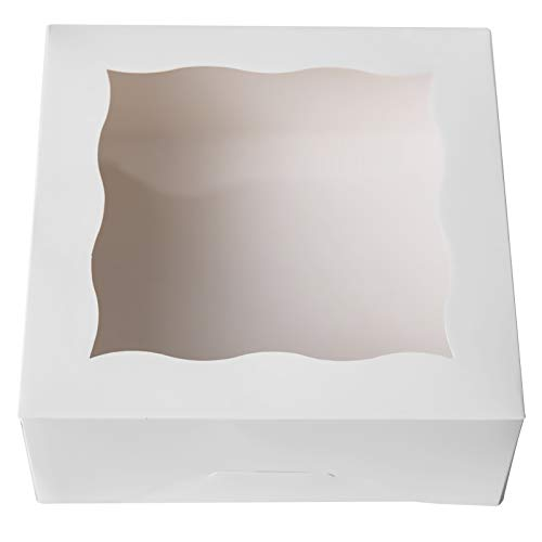 ONE MORE 6'White Bakery Boxes with PVC Window for Pie and Cookies Boxes Small Natural Craft Paper Box 6x6x2.5inch,12 of Pack