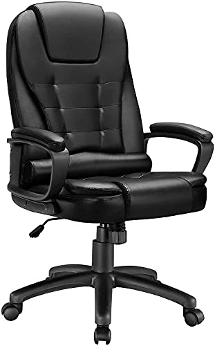 OFIKA Home Office Chair, 400LBS Ergonomic Heavy Duty Design, Back Lumbar Support Office Chair, Computer Desk Chair, Comfortable Executive Chair, Modern Office Chair, High Back Leather Chairs (Black)