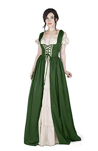 Boho Set Medieval Irish Costume Chemise and Over Dress (S/M, Hunter Green)