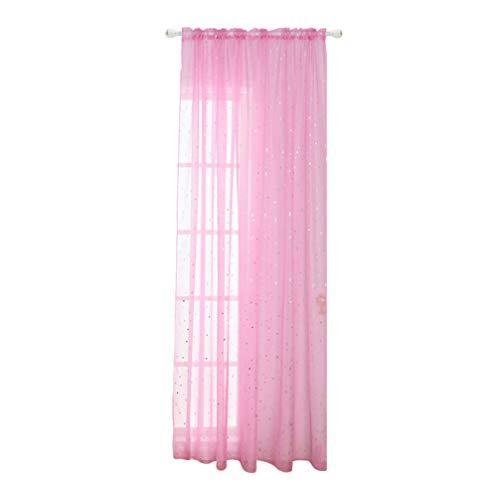 Homoyoyo Rideau de Fenêtre en Voile Romantique Glitter Tulle Traitements de Fenêtre Rideaux Et Rideaux pour Le Salon de La Chambre des Filles des Enfants - 100X200cm (1 pièce,Rose)