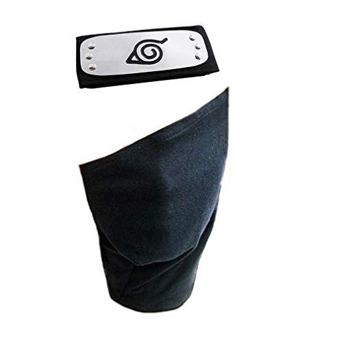 Bandeau / protecteur de front et masque facial avec logo de Village de feuille pour accessoires de Cosplay Ninja noir