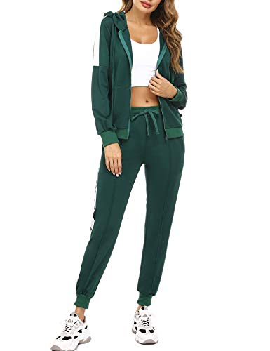 Aibrou Chandal Mujer Completo,Conjunto Chandal Dos Piezas Conjuntos Deportivos Sudadera con Cremallera y Pantalones de Chandal, (1# Verde Oscuro, XXL)
