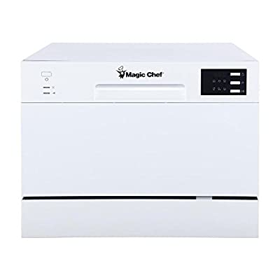 Magic Chef Energy Star 6-Place Setting MCSCD6W5 6 Plate Countertop Dishwasher, White