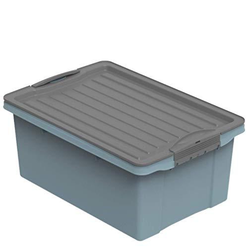 Rotho Compact, Caja de almacenamiento 13l con tapa, Plástico PP reciclado sin BPA, azul, antracita, A4, 13l 39.5 x 27.5 x 18.0 cm