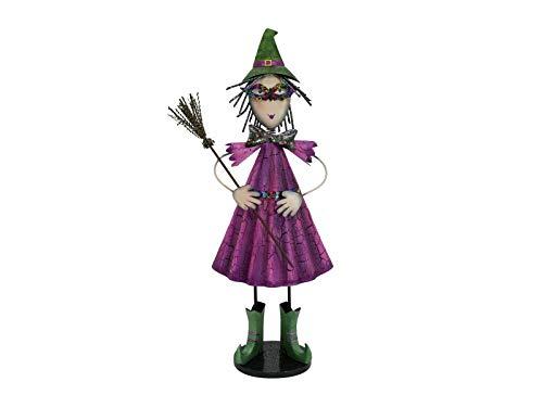 Figura de pequeña bruja con escoba y sombrero.