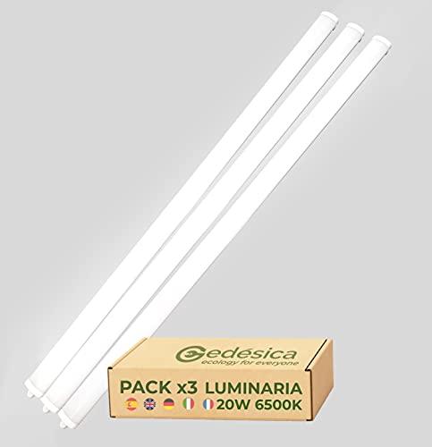PACK X3, Lampara Led, Lamparas de techo, Tubo Led, Pantalla Led, Luminaria Led, SLIM de Superficie 20W 60CM 6500K Luz Blanca...
